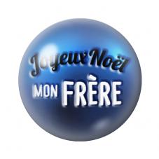 """Cabochon en Verre Illustré """"Joyeux Noël mon Frère"""" 12 à 25mm pour la Création de Bijoux Fantaisie - DIY"""