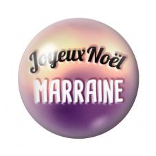 """Cabochon en Verre Illustré """"Joyeux Noël Marraine"""" 12 à 25mm pour la Création de Bijoux Fantaisie - DIY"""