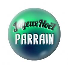 """Cabochon en Verre Illustré """"Joyeux Noël Parrain"""" 12 à 25mm pour la Création de Bijoux Fantaisie - DIY"""