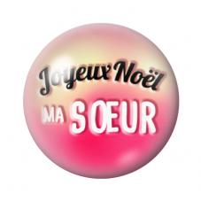 """Cabochon en Verre Illustré """"Joyeux Noël Soeur"""" 12 à 25mm pour la Création de Bijoux Fantaisie - DIY"""