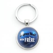 """Porte-clé en Verre """"Joyeux Noël mon Frère"""" Cadeau de Noël Original Tendresse"""