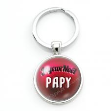 """Porte-clé en Verre """"Joyeux Noël Papy"""" Cadeau de Noël Original Tendresse"""