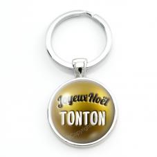"""Porte-clé en Verre """"Joyeux Noël Tonton"""" Cadeau de Noël Original Tendresse"""