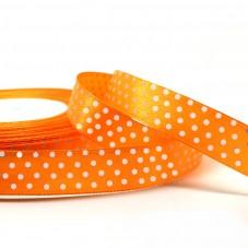 1 Mètre de Ruban Satin Orange Vif  à Pois Blanc 15mm pour la Création de Bijoux Fantaisie - DIY