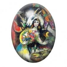 Cabochon en Verre Illustré Peinture Chagall 13x18, 18x25 ou 30x40mm pour la Création de Bijoux Fantaisie - DIY