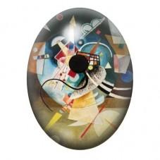Cabochon en Verre Illustré Peinture Kandinsky 13x18, 18x25 ou 30x40mm pour la Création de Bijoux Fantaisie - DIY