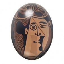 """Cabochon en Verre Illustré Peinture """"Femme au chapeau"""" Picasso 13x18, 18x25 ou 30x40mm pour la Création de Bijoux Fantaisie - DI"""