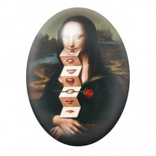 Cabochon en Verre Illustré Peinture Joconde Expressions 13x18, 18x25 ou 30x40mm pour la Création de Bijoux Fantaisie - DIY