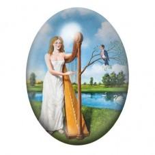 Cabochon en Verre Illustré Peinture Femme à la Harpe 13x18, 18x25 ou 30x40mm pour la Création de Bijoux Fantaisie - DIY
