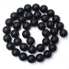 5 Perles Pierre Naturelle Agate Noire 8mm  pour la Création de Bijoux Fantaisie - DIY