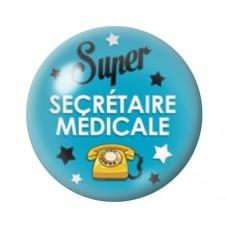 """Cabochon en Verre Illustré Thème Médical """"Super Secrétaire Médicale"""" 12 à 25mm pour la Création de Bijoux Fantaisie - DIY"""