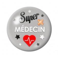 """Cabochon en Verre Illustré Thème Médical """"Super Médecin"""" 12 à 25mm pour la Création de Bijoux Fantaisie - DIY"""
