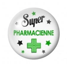 """Cabochon en Verre Illustré Thème Médical """"Super Pharmacienne"""" 12 à 25mm pour la Création de Bijoux Fantaisie - DIY"""