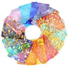 50 Sachets en Organza Coloré avec Lien Coulissant 12x9cm