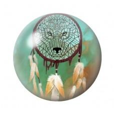 Cabochon en Verre Illustré Attrape-Rêves Loup 12 à 25mm pour la Création de Bijoux Fantaisie - DIY