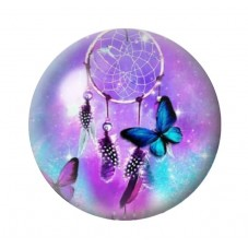 Cabochon en Verre Illustré Attrape-Rêves Papillon 12 à 25mm pour la Création de Bijoux Fantaisie - DIY