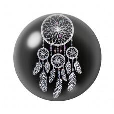 Cabochon en Verre Illustré Attrape-Rêves Noir et Blanc 12 à 25mm pour la Création de Bijoux Fantaisie - DIY