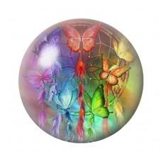 Cabochon en Verre Illustré Attrape-Rêves Papillons 12 à 25mm pour la Création de Bijoux Fantaisie - DIY