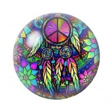 Cabochon en Verre Illustré Attrape-Rêves Peace and Love 12 à 25mm pour la Création de Bijoux Fantaisie - DIY