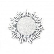 Support Broche Soleil Argenté pour Cabochon 25mm pour la Création de Bijoux Fantaisie - DIY