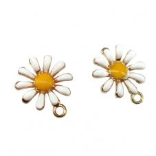 2 Breloques Fleur Marguerite en Émail Blanc Métal Doré 16x13mm pour la Création de Bijoux Fantaisie - DIY