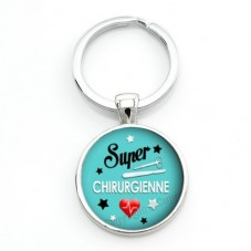 """Porte-Clé """"Super Chirurgienne"""" Cadeau Original Anniversaire Noël"""