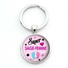"""Porte-Clé """"Super Sage-Femme"""" Cadeau Original Anniversaire Noël"""
