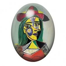 """Cabochon en Verre Illustré Peinture """"Portrait de Femme"""" Picasso 13x18, 18x25 ou 30x40mm pour la Création de Bijoux Fantaisie - D"""