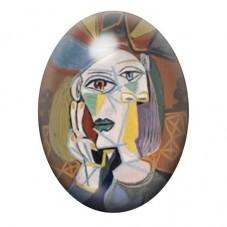"""Cabochon en Verre Illustré Peinture """"Portrait Cubiste"""" Picasso 13x18, 18x25 ou 30x40mm pour la Création de Bijoux Fantaisie - DI"""