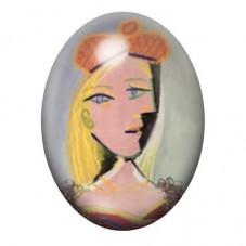 """Cabochon en Verre Illustré Peinture """"Portrait d'Anabelle"""" Picasso 13x18, 18x25 ou 30x40mm pour la Création de Bijoux Fantaisie -"""