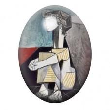 """Cabochon en Verre Illustré Peinture """"Portrait de jacqueline Roque"""" Picasso 13x18, 18x25 ou 30x40mm pour la Création de Bijoux Fa"""