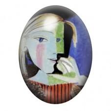 """Cabochon en Verre Illustré Peinture """"Portrait de Marie Thérèse"""" Picasso 13x18, 18x25 ou 30x40mm pour la Création de Bijoux Fanta"""
