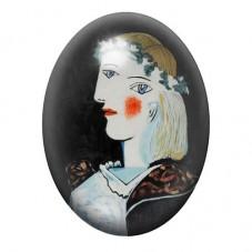 """Cabochon en Verre Illustré Peinture """"Portrait de Marie-Thérèse Walter"""" Picasso 13x18, 18x25 ou 30x40mm pour la Création de Bijou"""