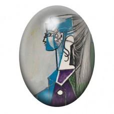 """Cabochon en Verre Illustré Peinture """"Portrait de Sylvette David dans un fauteuil vert"""" Picasso 13x18, 18x25 ou 30x40mm pour la C"""