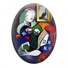 """Cabochon en Verre Illustré Peinture """"Femme tenant un Livre"""" Picasso 13x18, 18x25 ou 30x40mm pour la Création de Bijoux Fantaisie"""