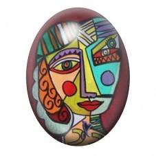 Cabochon en Verre Illustré Peinture Portrait Style Picasso 13x18, 18x25 ou 30x40mm pour la Création de Bijoux Fantaisie - DIY