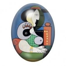 Cabochon en Verre Illustré Peinture Femme Cubiste Style Picasso 13x18, 18x25 ou 30x40mm pour la Création de Bijoux Fantaisie - D