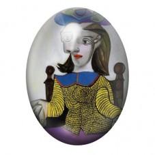 """Cabochon en Verre Illustré Peinture """"Le chandail jaune"""" Picasso 13x18, 18x25 ou 30x40mm pour la Création de Bijoux Fantaisie - D"""