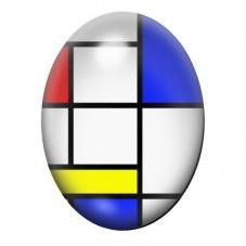 Cabochon en Verre Illustré Peinture Mondrian 13x18, 18x25 ou 30x40mm pour la Création de Bijoux Fantaisie - DIY
