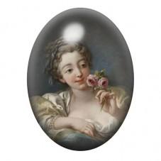 Cabochon en Verre Illustré Peinture Femme Noblesse XVIIIe 13x18, 18x25 ou 30x40mm pour la Création de Bijoux Fantaisie - DIY