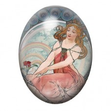 Cabochon en Verre Illustré Peinture Mucha 13x18, 18x25 ou 30x40mm pour la Création de Bijoux Fantaisie - DIY