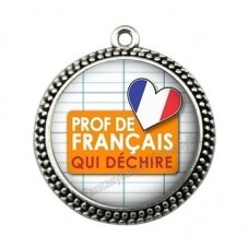 """Pendentif Cabochon en Résine """"Prof de Français qui Déchire"""" 25mm pour la Création de Bijoux Fantaisie - DIY"""