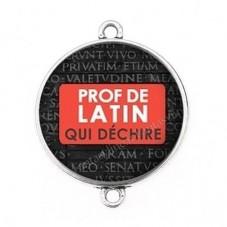 """Connecteur Cabochon en Résine """"Prof de Latin qui Déchire"""" 25mm pour la Création de Bijoux Fantaisie - DIY"""