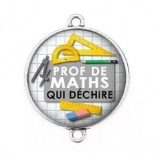 """Connecteur Cabochon en Résine """"Prof de Maths qui Déchire"""" 25mm pour la Création de Bijoux Fantaisie - DIY"""