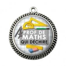 """Pendentif Cabochon en Résine """"Prof de Maths qui Déchire"""" 25mm pour la Création de Bijoux Fantaisie - DIY"""