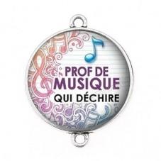 """Connecteur Cabochon en Résine """"Prof de Musique qui Déchire"""" 25mm pour la Création de Bijoux Fantaisie - DIY"""