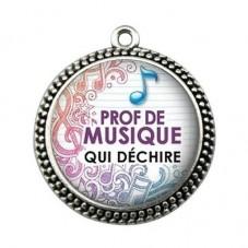 """Pendentif Cabochon en Résine """"Prof de Musique qui Déchire"""" 25mm pour la Création de Bijoux Fantaisie - DIY"""