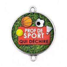"""Connecteur Cabochon en Résine """"Prof de Sport qui Déchire"""" 25mm pour la Création de Bijoux Fantaisie - DIY"""