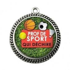 """Pendentif Cabochon en Résine """"Prof de Sport qui Déchire"""" 25mm pour la Création de Bijoux Fantaisie - DIY"""
