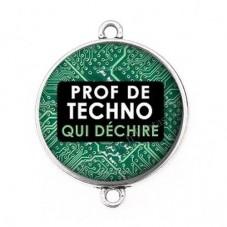 """Connecteur Cabochon en Résine """"Prof de Techno qui Déchire"""" 25mm pour la Création de Bijoux Fantaisie - DIY"""